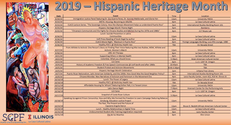 2019 Hispanic Heritage Month Calendar - A PDF link is below
